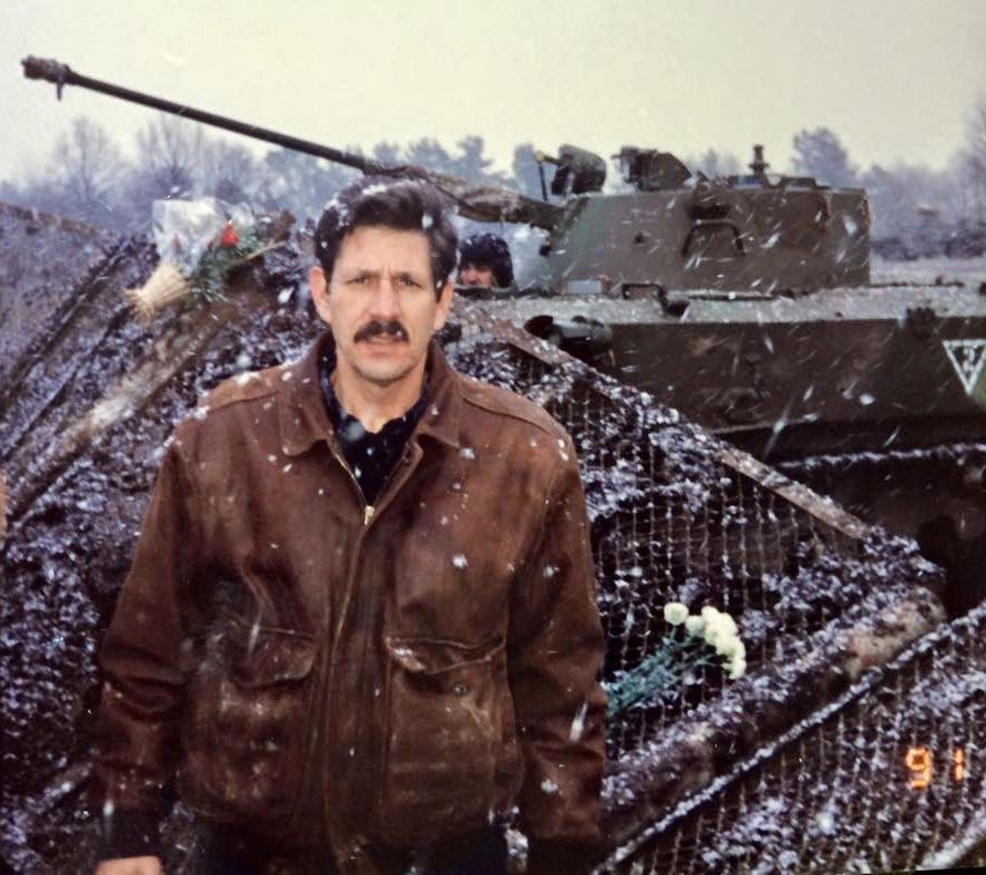 Richard Ebeling at the Vilnius Lithuania Television Tower, Jan. 13, 1991