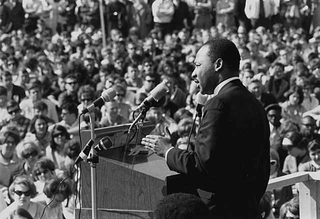 Martin Luther King, Jr., speaking against the Vietnam War, St. Paul Campus, University of Minnesota. via Minnesota Historical Society
